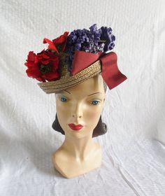 1940s Vintage Straw Tilt Hat with Flowers via MyVintageHatShop.
