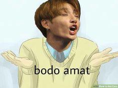 Memes Funny Faces, Funny Kpop Memes, Jokes Quotes, Random Meme, Humor, Idol, Korea, Boyfriend, Sticker
