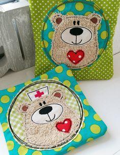 Stickmuster - ♥ *2x BärBel Button* Doodle 10x10 Rahmen ♥ - ein Designerstück von StoffCut bei DaWanda