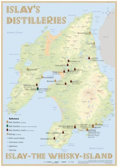 Islay's Whisky Distilleries Map with all Distilleries of Islay Medium Size: 42 x 60 cm Tasting Map Size: 24 x 34 cm www.alba-collection.com