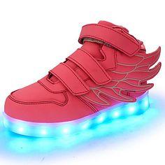 Flickor Sneakers Komfort Lysande skor Höst Vinter Konstläder Promenad Sport Casual LED Platt klack Svart Röd Grön Blå Rosa Platt