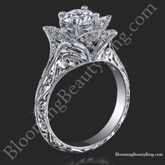 Hand Engraved 8 Petal .58 ct. Diamond Lotus Flower Ring