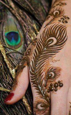 9 Best Peacock Mehndi Designs : Peacock feather mehndi design