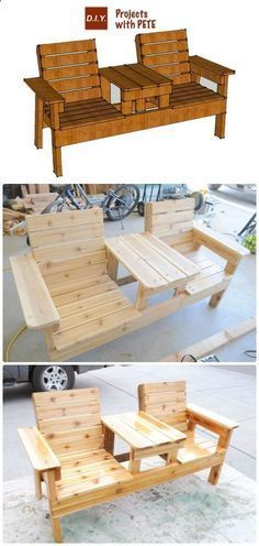 Shed DIY - DIY Double Chair Bench with Table Free Plans Instructions - Outdoor Patio #Furniture Ideas Instructions Now You Can Build ANY Shed In A Weekend Even If You've Zero Woodworking Experience! #outdoordiy