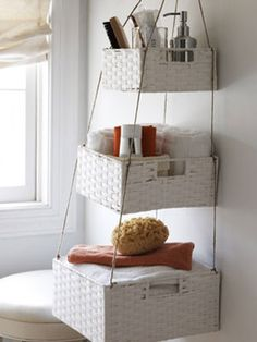 Easy pretty storage with just one hole in the wall. Would also be cute in entry way for keys, mail, etc. Or kitchen for fruit, veggies.
