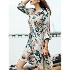 Retro Polo Collar Tie Front Long Sleeve Floral Print Dress For Women #women, #men, #hats, #watches, #belts, #fashion, #style