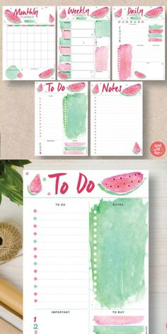 OMG! I looove the watermelon! Makes me think of summer. Printable watermelon theme bullet journal collection: monthy log, weekly and daily spreads, to do lists and notes. Planner pages for instant download. #affiliate #bulletjournalcollection #bujoprintables #planneraddict #watermelon
