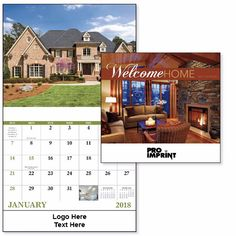 Customized 2018 Welcome Home Stapled Wall Calendars are great giveaways to make your clients identify special days and remembrances! #promotionalproduct #giveaway #calendars