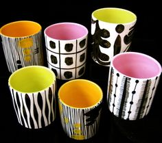 John ffrench: Black and white pot designs with neon interiors - for Arklow pottery Ireland