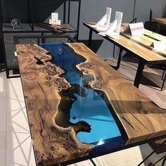 Thick Section Epoxy Clear Casting Resin For River Tables Coffee Table,Burned Wood,Blue Transparent