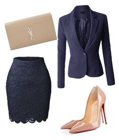 """work flow"" by laquinna-lb on Polyvore featuring LE3NO, Christian Louboutin and Yves Saint Laurent"