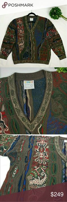 """COOGI Authentic vintage v-neck sweater Rare authentic Coogi Australia vintage 90's v- neck sweater Has a very cool unique knitted design of frogs, lizards, chameleons, horses and birds. In great clean condition. Smoke/pet free home. Length 27.5"""" Waist 24"""" flat across COOGI Sweaters V-Neck"""