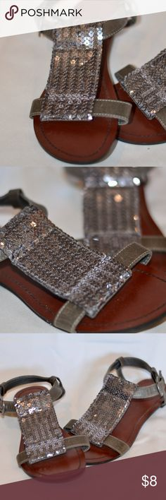 Mossimo brown and silver sequin sandals These sandals are in good condition. Barely any sequins missing and they are clean. The bottoms are barely even dirty. They are really comfortable and have no marks or scuffs. Buckle closure on strap. Purchased from Target Mossimo Supply Co. Shoes Sandals