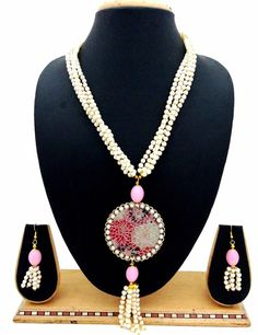 """Indian Jewelry Natural Pearl Beads 22"""" Pink Flower Bridal Necklace Earrings Set  #ShouryaExports #Charm"""
