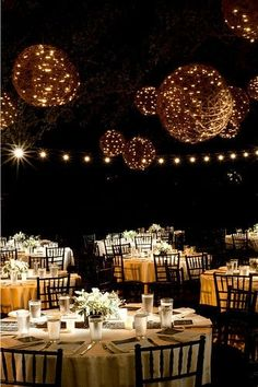 Wicker balls lined with clear Christmas lights have such a romantic glow.