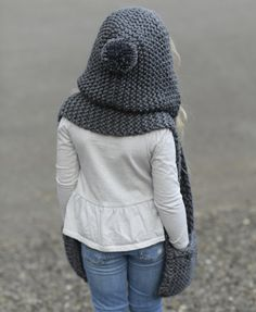 Ravelry: Tuft Hooded Scarf by Heidi May Knitting For Kids, Crochet For Kids, Baby Knitting, Crochet Baby, Knit Crochet, Hooded Scarf Pattern, Crochet Hooded Scarf, Cape Pattern, Velvet Acorn