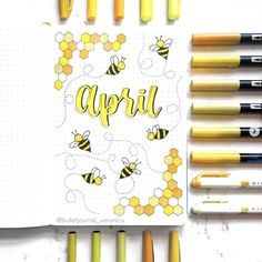 Super cute bullet journal theme ideas for April. Check out more bullet journal cover pages Bullet Journal School, Doodle Bullet Journal, April Bullet Journal, Bullet Journal Headers, Bullet Journal Cover Ideas, Bullet Journal Notebook, Bullet Journal Layout, Journal Covers, Bullet Journal Inspiration