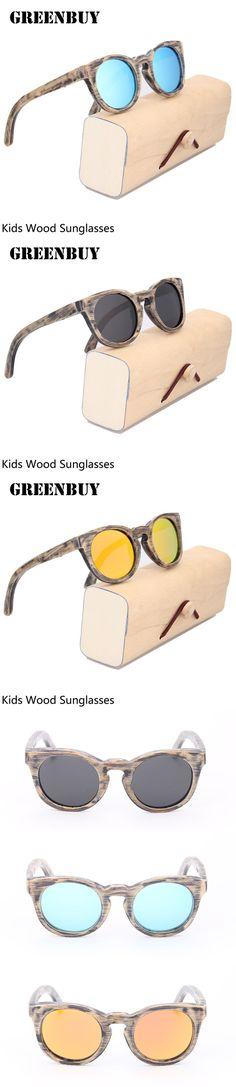 Children Sunglasses Polarized Round Frame Glasses for Boys Girls Brand Designer Eyewear Wood Sunglasses Kids Cheap Wholesale $25.96