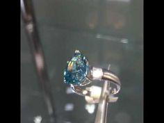 Cambodian blue zircon and diamond white gold ring