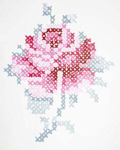 Cross Stitch Embroidery Wall Art from Danielle Oakey Interiors Cross Stitch Rose, Modern Cross Stitch, Cross Stitch Flowers, Cross Stitch Designs, Cross Stitch Patterns, Cross Stitching, Cross Stitch Embroidery, Embroidery Patterns, Hand Embroidery