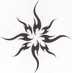 Simple Tribal Sun Tattoo Design                                                                                                                                                     More