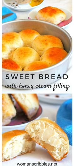These sweet bread are warm, comforting rolls that are almost like a brioche. They are filled with honey cream filling in the centers making them great for desserts or snacks or as breakfast treats.