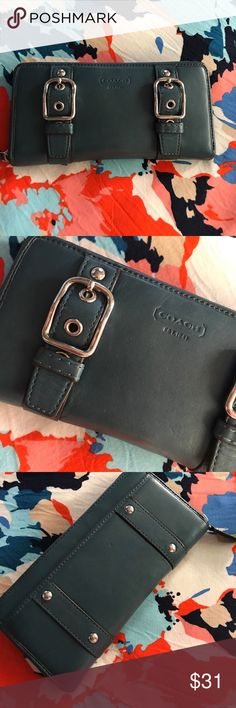Coach wallet Leather wallet great condition.Pretty dark teal color.Very clean inside. Last pic is close to actual color. Coach Bags Wallets
