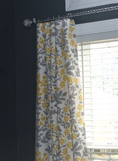 "Curtains made from Target table cloths..no sewing! How have I never noticed that they're 84"" long?!?!?!?!"