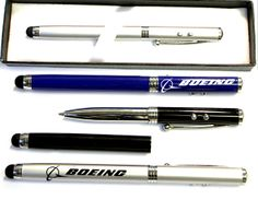 Twist action pen with laser pointer / LED and stylus -- 4 in 1 ballpoint pen with LED flashlight, laser pointer and soft touch stylus in gift box. Solid metal construction with metallic finish. Great for home, office, iPhone, iTouch, iPad and other smartphone. Is a great corporate gift.