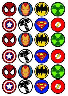 Avenger Party, Mermaid Cupcake Toppers, Edible Cupcake Toppers, Superhero Cupcake Toppers, Edible Cake, Avengers Birthday, Superhero Birthday Party, Anniversaire Wonder Woman, Avenger Cupcakes