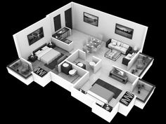 3D Small House Open Floor Plans with 3 Bedroom get perfect with ...