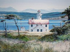 Watercolor Paintings of Lighthouses | Point Wilson Lighthouse watercolor by Thomas A Needham