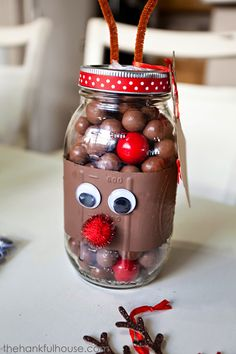 Reindeer Noses Mason Gift Jars - The Hankful House
