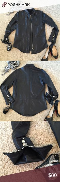 Zara Woman Studio Buttery Leather Shirt Jacket XS Zara Woman Studio Buttery Leather Shirt Jacket XS. Cool zipper detailing. Zips closed also. Excellent condition. So SO soft! I love this jacket! Perfect for fall!! Light weight leather. The kind you love! Zara Jackets & Coats