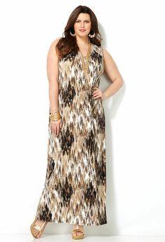 Brown Abstract Print Maxi Dress-Plus Size Maxi Dress-Avenue