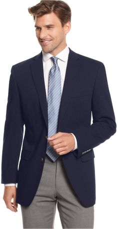 $350, Navy Wool Blazer: Calvin Klein Blazer 2 Metal Button Stretch Wool. Sold by Macy's. Click for more info: http://lookastic.com/men/shop_items/181128/redirect