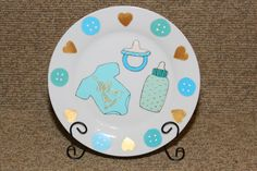 Painted Decorative Ceramic Plate for Baby by MidnightCreations777