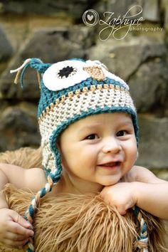Owl Crochet Hat Baby Boy Beanie Crochet by handsomeboyboutique