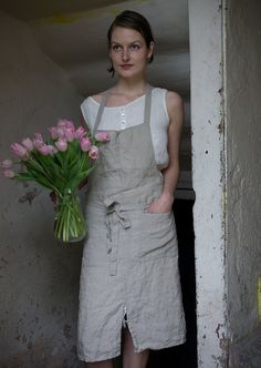 Pure Linen Apron by KnockKnockLinen on Etsy, $67