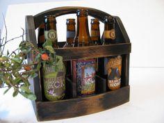 Handmade Beer bottle six pack carrier Wood beer box 6 pack carrier Beer boat. $59