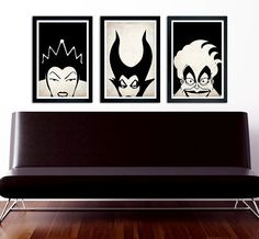 """Disney Villains poster set Maleficent, The Evil Queen, Ursula 11""""x17"""" on Etsy, $30.00 ( this will be in my house , black and white is my favorite color scheme and then add villains???)"""
