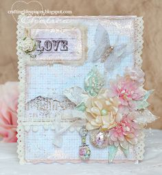 Another stunning pastel shimmering Shabby Chic handmade card by Chelsea.  She makes her own flowers - follow the link and see her tutorials.
