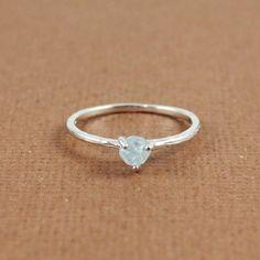 Silver Rough Aquamarine Birthstone Ring March
