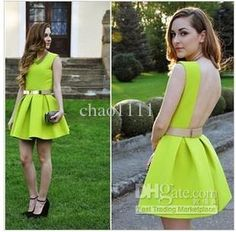 Wholesale Formal Dress - Buy A469 2014 Summer Women New Fashion Sexy Sleeveless Backless Neon Green Dress Girls Ice Skating Dresses S M L No Belt Drop Ship, $18.9 | DHgate
