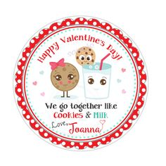 """Valentine's Cookies & Milk  2.5"""" Printable Tags-Valentines Personalized Valentine's gift tag-stickers-Printable tags Printable Tags, Printable Stickers, Printables, Valentine Cookies, Valentine Gifts, We Go Together, Happy We, Gift Tags, Etsy Seller"""