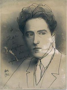* JeanCocteau Autoportrait (1932) Dessin à l'encre noire sur photographie du Studio G.L. MANUEL Frères