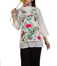 100% Handmade Linen Cotton Blouse Shirt Top - Oriental Chinese Embroidery Art #119 Interact China. $98.00. Choice of linen or pure cotton for excellent comfort, ensuring natural, light weight, soft and good breathability. Original design embossed with fabulous handmade flowery embroidery artwork. Simple elegance with great charm; Stylish blouse in modern vintage Chinese chic. 100% handmade in good workmanship standard; Unique pattern available in limited quantity