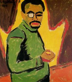 """drawpaintprint: """" Karl Schmidt-Rottluff: Self-Portrait with Monocle German painter and printmaker. As an architecture student in Dresden, he helped form Die Brücke in He soon realized the. Ernst Ludwig Kirchner, Le Monocle, Ludwig Meidner, Karl Schmidt Rottluff, George Grosz, Degenerate Art, Expressionist Artists, Digital Museum, Collaborative Art"""