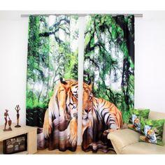 Lacné závesy zeleno béžovej farby s tigrom
