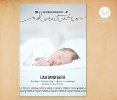 Baby Birth Announcement: Greatest Adventure // Printable or Printed, Birth Announcement Boy, Announcement Cards, Create And Craft, Baby Birth, Traveling With Baby, Greatest Adventure, Baby Pictures, Little Ones, Digital Prints